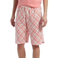 Hue Womens Madras Plaid Pajama Bermuda Shorts