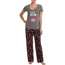 Hue Womens Wine Sips Red Lips Pajama Pants Set