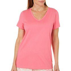 Hue Womens Essential Solid V-Neck Pajama Top