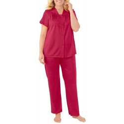Exquisite Form Womens Flower Embroidered Pajama Set
