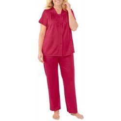 Womens Flower Embroidered Pajama Set