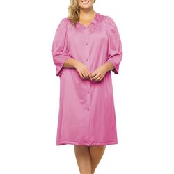 Exquisite Form Womens Floral Embroidered Button Down Robe