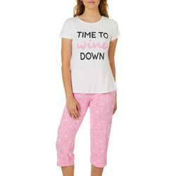 Be Yourself Womens Time To Wine Down 2 Piece Pajama Set
