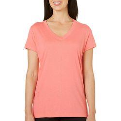 Coral Bay Womens Solid V-Neck Pajama Top