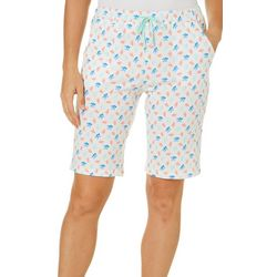 Coral Bay Womens Coral Pajama Bermuda Shorts