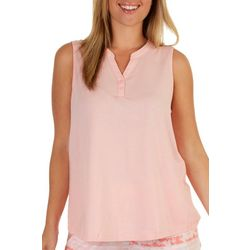 Coral Bay Womens Solid Split Neck Sleevless Pajama