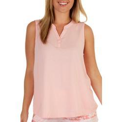 Womens Solid Split Neck Sleevless Pajama Top