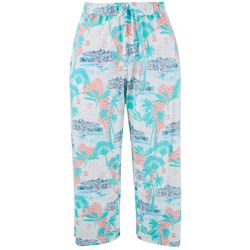 Coral Bay Womens Paradise Print Pull On Capris