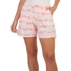 Coral Bay Womens Flamingo Stripe Print Pajama Shorts