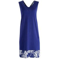 Womens Colorblock Tropical Contrast Midi Nightgown