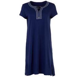 Coral Bay Womens Emroidered Notch Neckline Midi Nightgown
