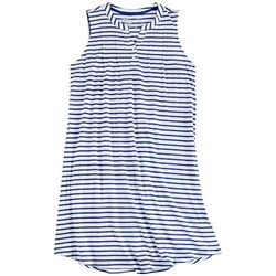 Coral Bay Womens Striped Sleeveless Henley Nightgown