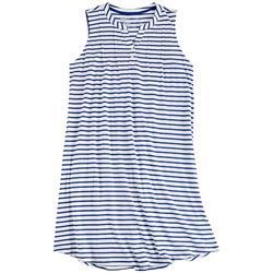 Womens Striped Sleeveless Henley Nightgown