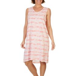 Coral Bay Womens Pink Stripe V-Neck Nightgown