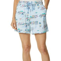 Coral Bay Womens Blue Water Pajama Bermuda Shorts