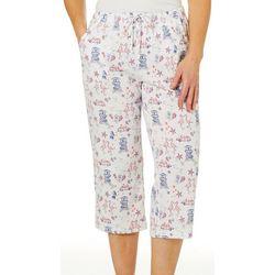 Coral Bay Womens Flamingo Print Capri Pajama Pants