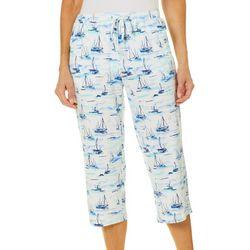 Coral Bay Womens Boat Print Capri Pajama Pants