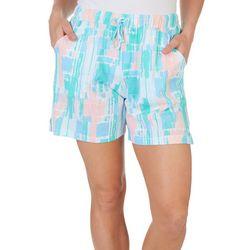 Coral Bay Womens Crayon Stripe Print Pajama Shorts