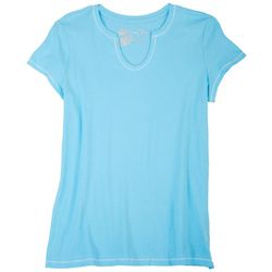 Coral Bay Womens Solid Split Neck Short Sleeve