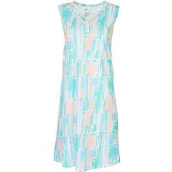 Coral Bay Womens Crayon Stripe V-Neck  Nightgown