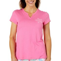 Coral Bay Womens Starfish Embellished Pajama Top