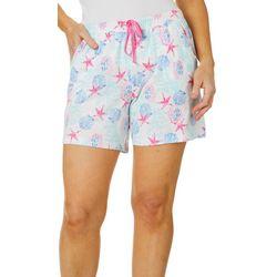 Coral Bay Womens Seashell Print Pajama Shorts
