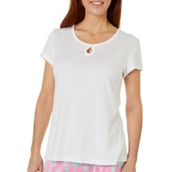 Womens Solid Short Sleeve Keyhole Pajama Top