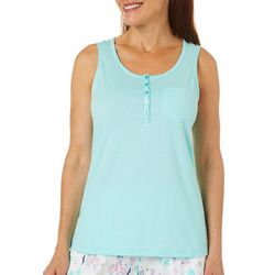 Coral Bay Womens Henley Sleeves Pajama Top