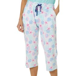 Coral Bay Womens Seashell Print Capri Pajama Pants