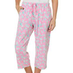 Plus Turtle Print Capri Pajama Pants