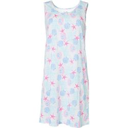 Womens Shells & Starfish Print Nightgown