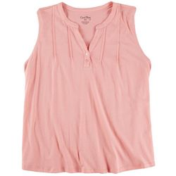 Coral Bay Womens Solid V Neckline With Buttons Top