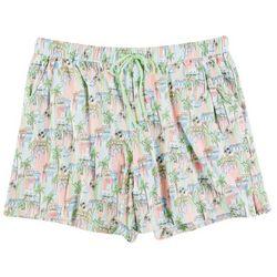 Coral Bay Womens Tropical Village Pajama Shorts