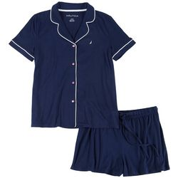 Womens Solid Boxer Pajama Shorts Set