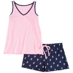 Womens 2-pc. Anchor Print Pajama Shorts Set