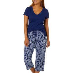 Nautica Womens 2-pc. Knot Print Pajama Capris Set