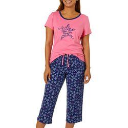 Nautica Womens 2-pc. Ocean Blue Pajama Capris Set