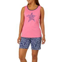 Nautica Womens 2-pc. Ocean Blue Pajama Bermuda Shorts Set