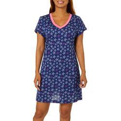 Nautica Womens Sea Star V-Neck Short Sleeve Nightgown