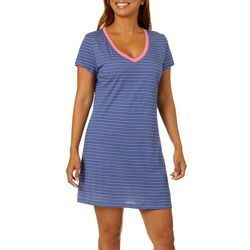 Nautica Womens Striped V-Neck Short Sleeve Nightgown