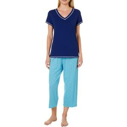 Nautica Womens 2-pc. Anchor Tile Print Pajama Capris