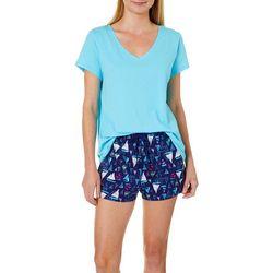 Nautica Womens 2-pc. Sailboat Print Pajama Shorts Set