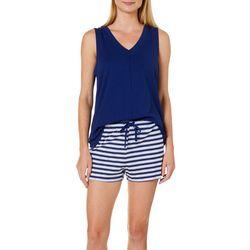 Nautica Womens 2-pc. Striped Print Pajama Shorts Set