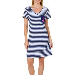 Nautica Womens Striped V-Neck Anchor Pocket Nightgown