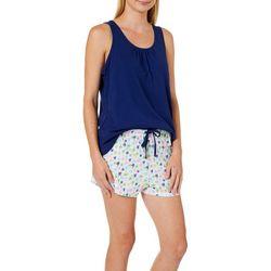 Nautica Womens 2-pc. Palm Print Pajama Shorts Set