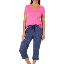 Nautica Womens 2-pc. Crab Stripe Print Pajama Capri Set