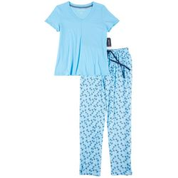 Womens 2-pc. Palm Print Pajama Set