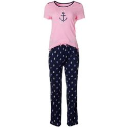 Womens 2-pc. Anchor Print Pajama Pants Set