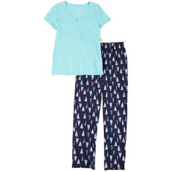 Womens 2-pc. Flag Print Pajama Set