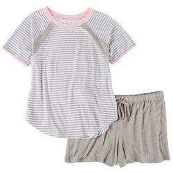 Nautica Womens 2-pc. Heather Stripe Pajama Shorts Set